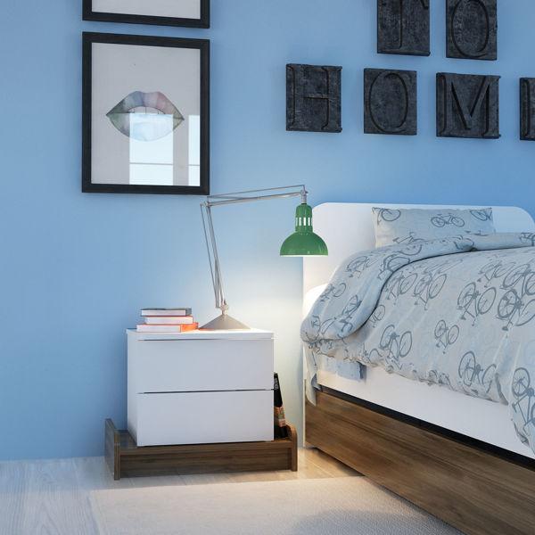Picture of Nancy's Wisconsin Rapids Bedside Table - Modern - White, Brown - Fabricated Wood - 40 cm x 60 cm x 46 cm