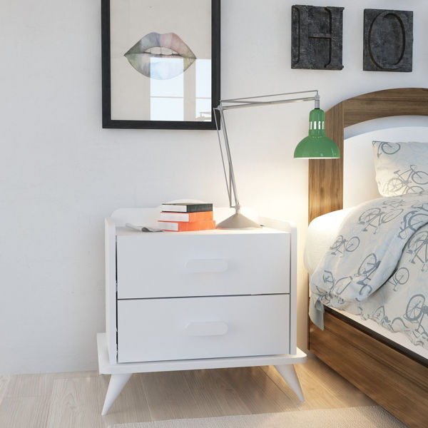 Picture of Nancy's Mililani Town Bedside Table - Modern - White - Fabricated Wood - 42.1 cm x 60 cm x 58.6 cm