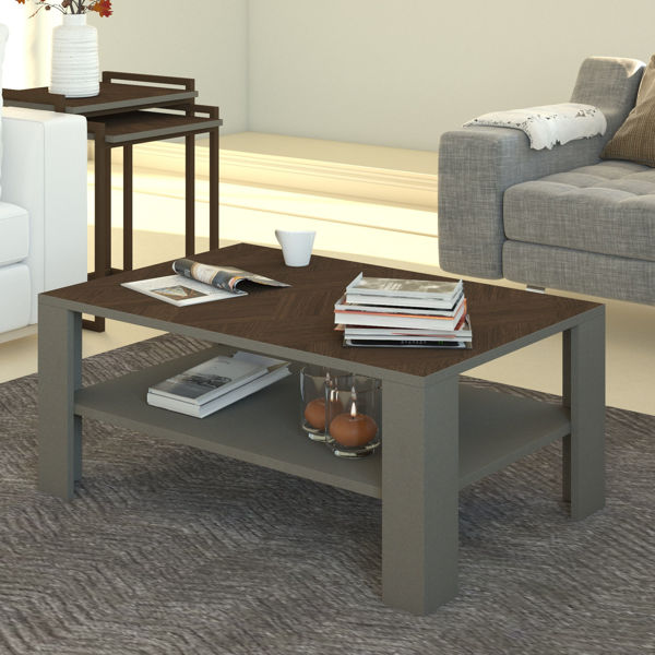 Picture of Nancy's Reisterstown Coffee Table - Modern - Grey, Brown - Fabricated Wood - 60 cm x 90 cm x 41 cm