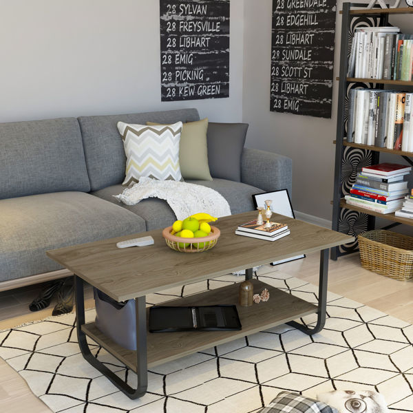 Picture of Nancy's Oak Forest Coffee Table - Industrial - Brown, Black - Fabricated Wood, Metal - 60 cm x 110 cm x 48 cm