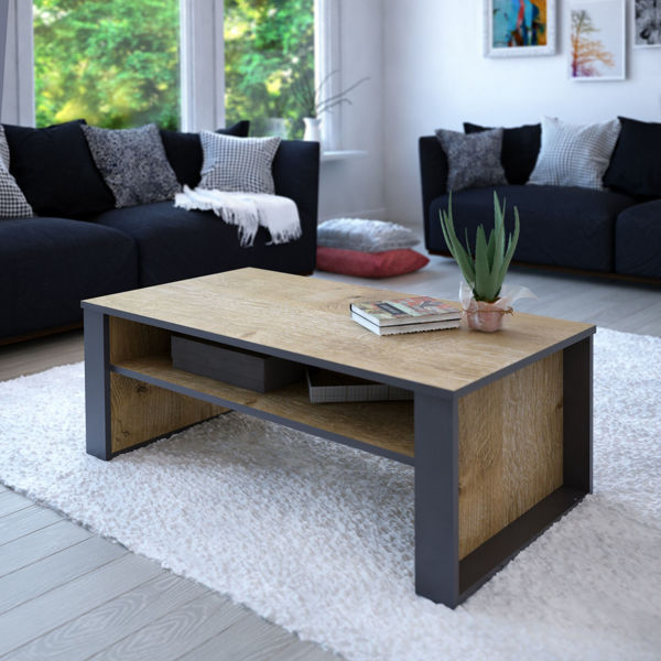 Picture of Nancy's McDonough Coffee Table - Modern - Brown, Grey - Fabricated Wood - 60 cm x 110 cm x 40 cm