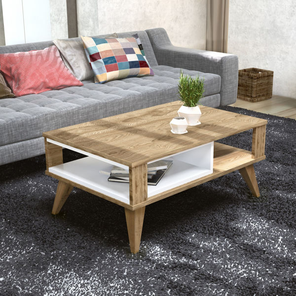 Picture of Nancy's Short Pump Coffee Table - Modern - Brown, White - Fabricated Wood - 60 cm x 90 cm x 40 cm