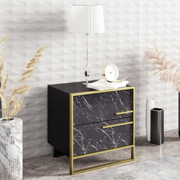 Picture of Nancy's Temple Terrace Bedside Table - Design - Black, Gold - Fabricated Wood, Metal - 38.5 cm x 50 cm x 51.8 cm