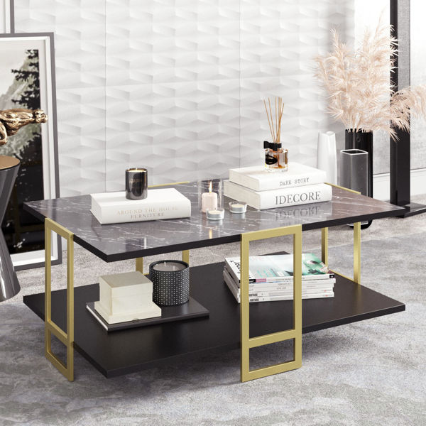 Picture of Nancy's South Portland Coffee Table - Design - Black, Gold - Fabricated Wood, Metal - 61.5 cm x 91.5 cm x 36.6 cm