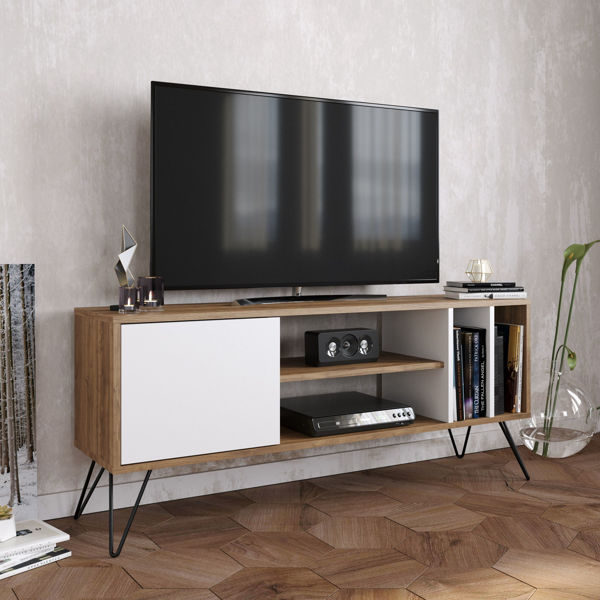 Picture of Nancy's Snoqualmie TV Furniture - Modern - Brown, White, Black - Fabricated Wood, Metal - 35.5 cm x 140 cm x 58.7 cm