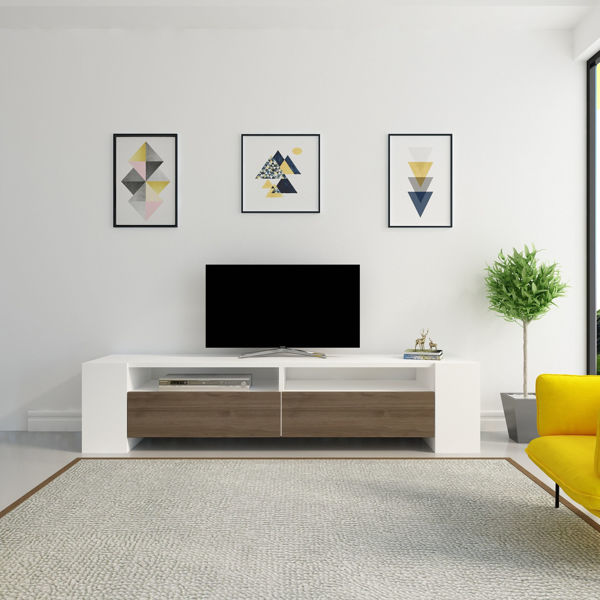 Picture of Nancy's South San Jose Hills TV Furniture - Modern - White, Brown - Fabricated Wood - 35 cm x 155 cm x 35 cm