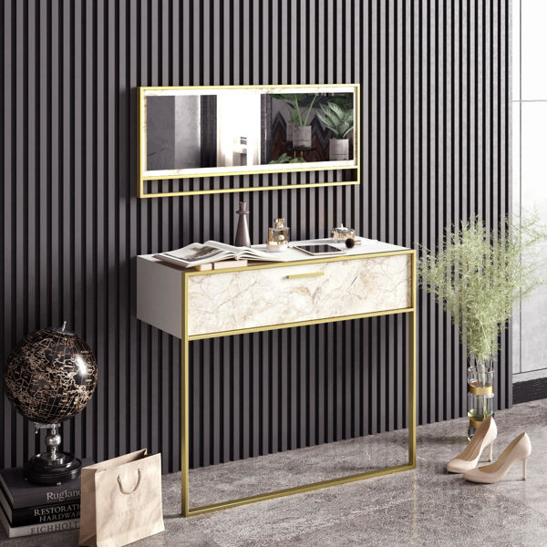 Picture of Nancy's Drexel Hill Sideboard - Design - White, Gold - Fabricated Wood, Metal - 38.5 cm x 90 cm x 76.8 cm