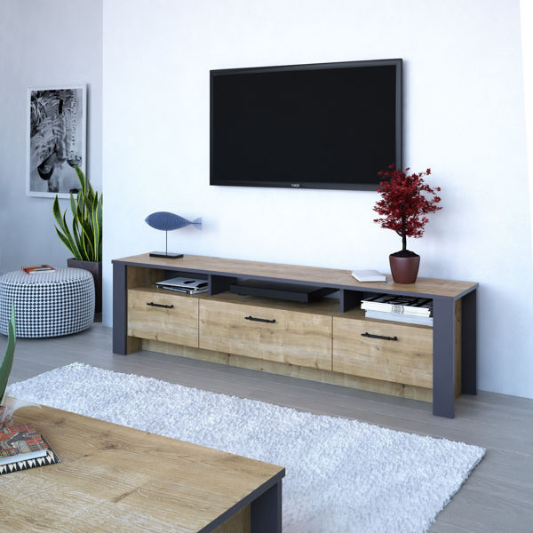 Picture of Nancy's Thomasville TV Furniture - Modern - Brown, Grey - Fabricated Wood - 35 cm x 180 cm x 48.7 cm