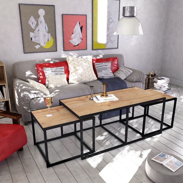 Picture of Nancy's Summerlin South Coffee Table - Modern - Brown, Black - Fabricated Wood, Metal - 60 cm x 120 cm x 50 cm