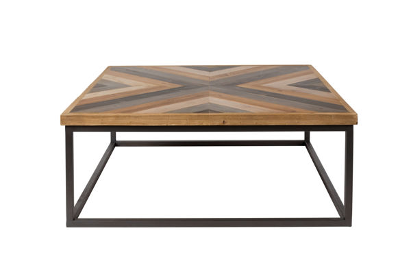 Picture of Nancy's Leeds Table - Modern - Brown, Natural, Black - Wood, Mdf, Iron - 81 cm x 81 cm x 32 cm