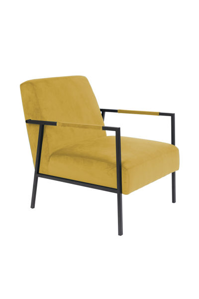 Picture of Nancy's Bothell East Lounge Chair - Industrial - Yellow, Black - Polyester, Wood, Iron - 81 cm x 60.5 cm x 76 cm