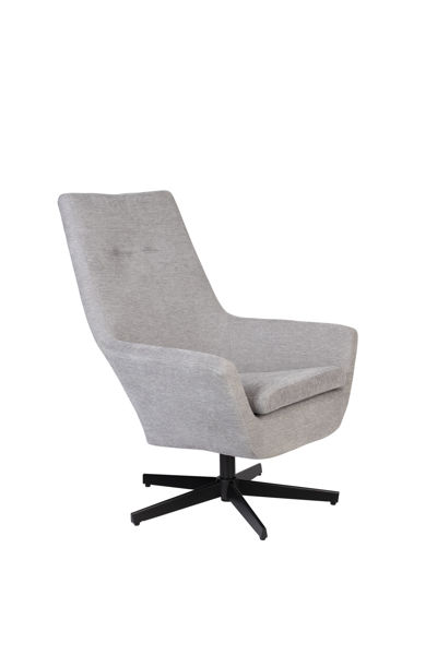 Picture of Nancy's Beachwood Lounge Chair - Industrial - Light Grey, Black - Polyester, Plywood, Iron - 79 cm x 76 cm x 98 cm