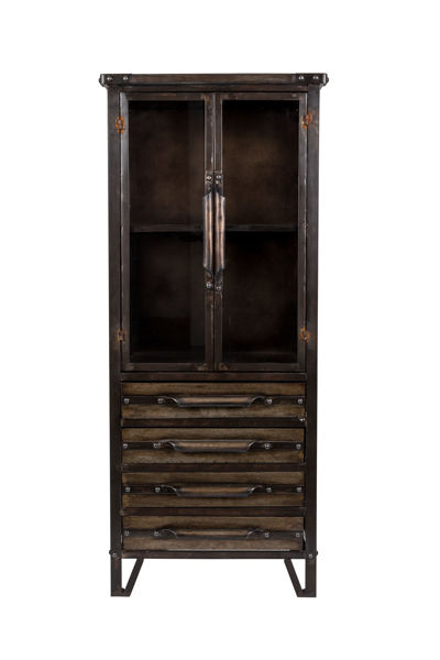 Picture of Nancy's Archdale Cabinet - Industrial - Black, Metal, Brown - Iron, Glass - 34.5 cm x 49 cm x 35 cm
