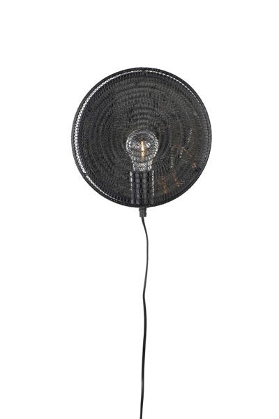 Picture of Nancy's Forest Wall Lamp - Modern - Black - Iron, Glass, Brass - 25.5 cm x 25.5 cm x 11 cm